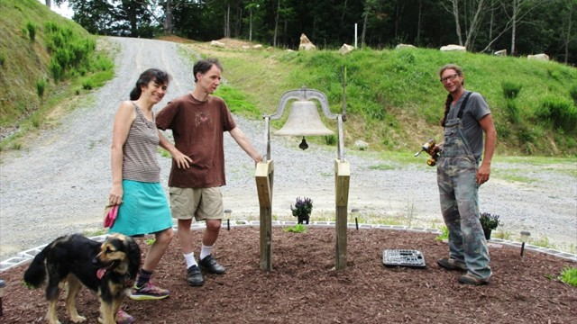 BJ, Chris & Cleo Inspect the Peace Pentagon Bell